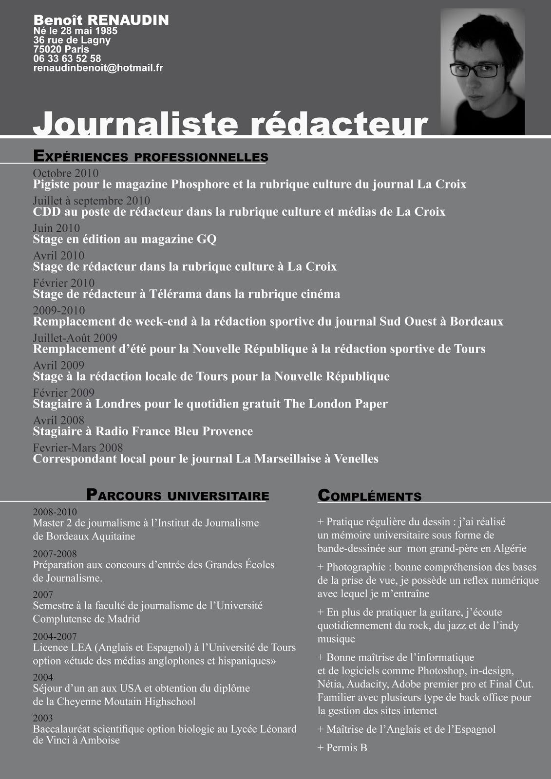 resume format  exemple de cv journaliste gratuit