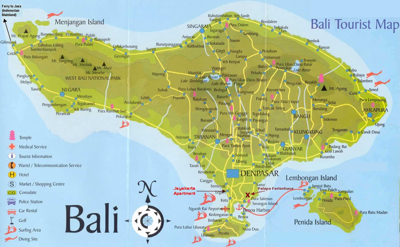 landkartenblog eine touristische landkarte von bali. Black Bedroom Furniture Sets. Home Design Ideas