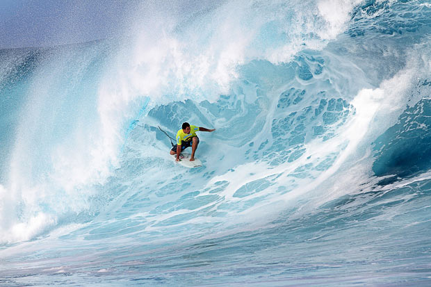 Ryan Hipwood surfs during round one heat of Air Tahiti Nui VonZipper trial at Teahupoo in Tahiti