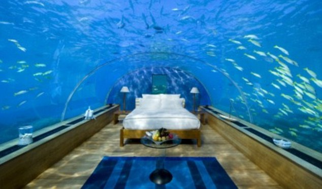 The 'Ithaa' suite of Conrad Maldives Rangali Islands hotel