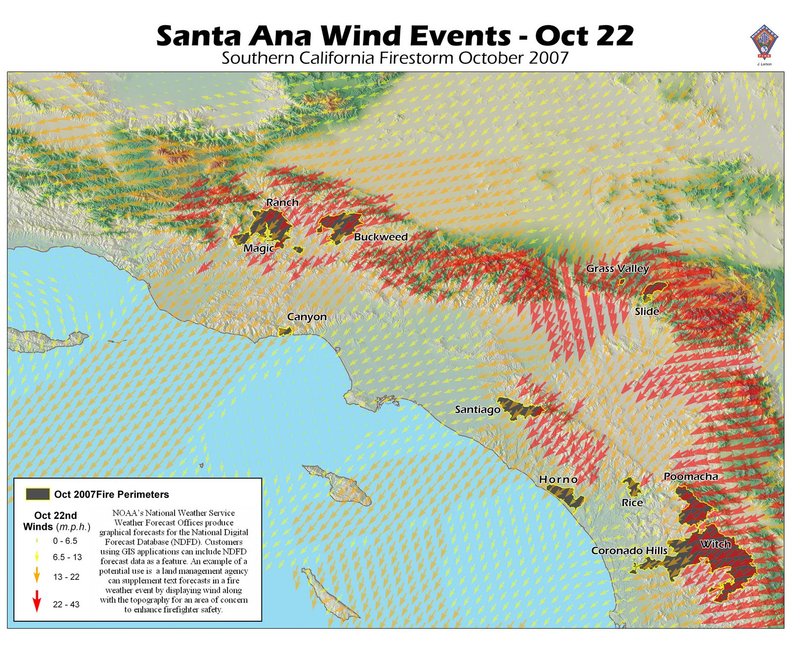 So Cal Fire Map Santa Ana Winds on October 22 Firefighter Blog