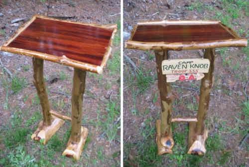 Rustic Furniture A Podium For Camp Raven Knob  Wood Trails
