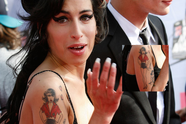 Celebrity Amy Winehouse Tattoo Design on Arm Famous Tattoo Quotes