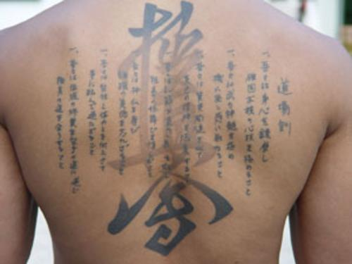 Japanese Word Script tattoo Design on back