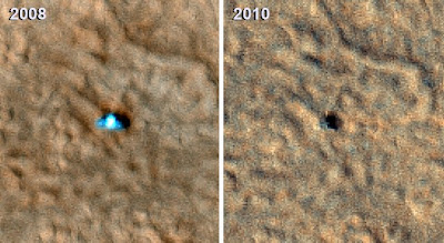 Two images of the Phoenix Mars lander taken from Martian orbit in 2008 and 2010. The 2008 lander image shows two relatively blue spots on either side corresponding to the spacecraft's clean circular solar panels. In the 2010 image scientists see a dark shadow that could be the lander body and eastern solar panel, but no shadow from the western solar panel. Image credit: NASA/JPL-Caltech/University of Arizona