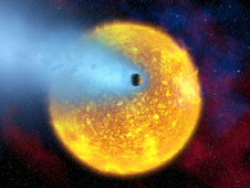 HD 209458's boiling atmosphere is being ripped from the planet as it orbits its star