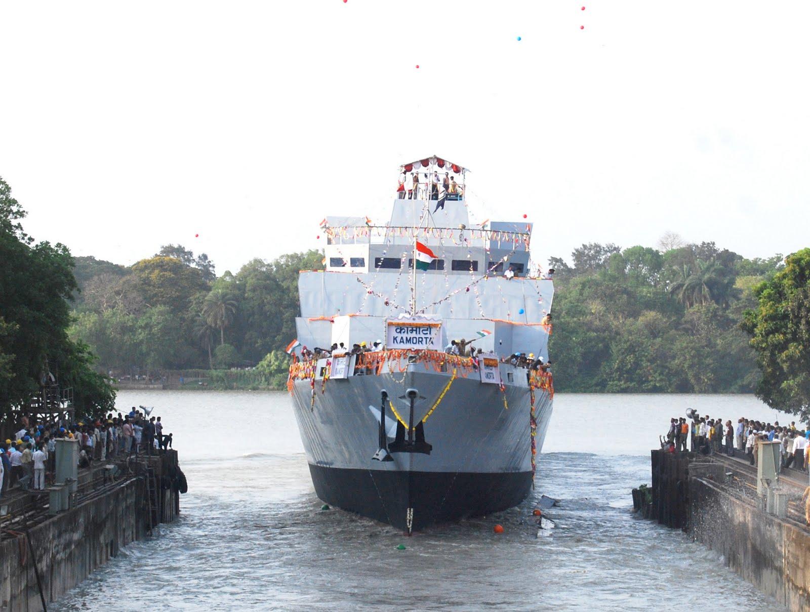 مفهوم الشبحية و تطبيقها في المجال البحري  Kamorta+,+First+Anti+Submarine+Warfare+Corvette+built+at+GRSE,+Kolkata+takes+to+water+today.-724364