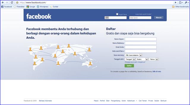 http://www.facebook.com/ maka akan tampil seperti ini