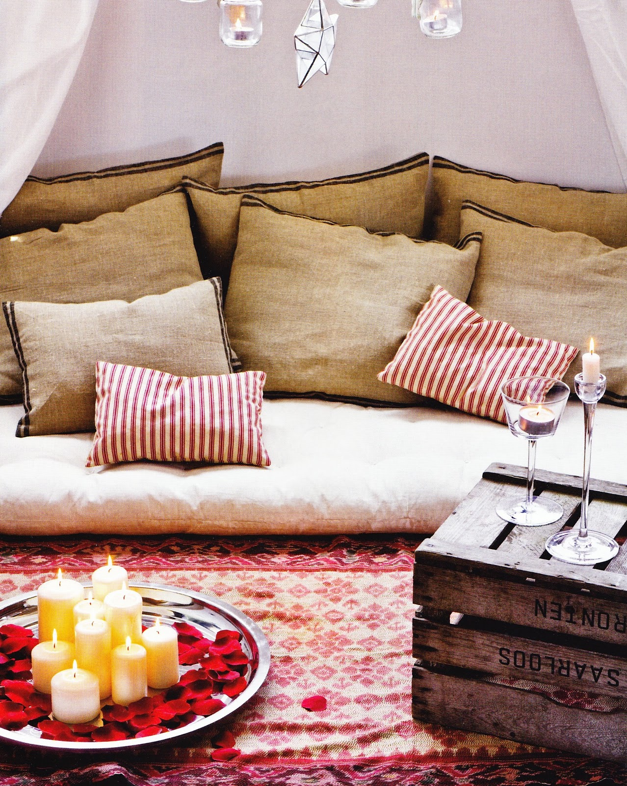 Upside down crate makes a low table   via Habitania. LET S STAY  Low Sofa  Bed  Nap mat and Floor Cushion Ideas