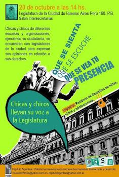 Los pibes tienen la palabra - en la Legislatura porteña miércoles 20 de octubre 14 hs.