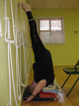 Denise doing Niralumba Sarvangasana, Unsupported Shoulder stand on a wall