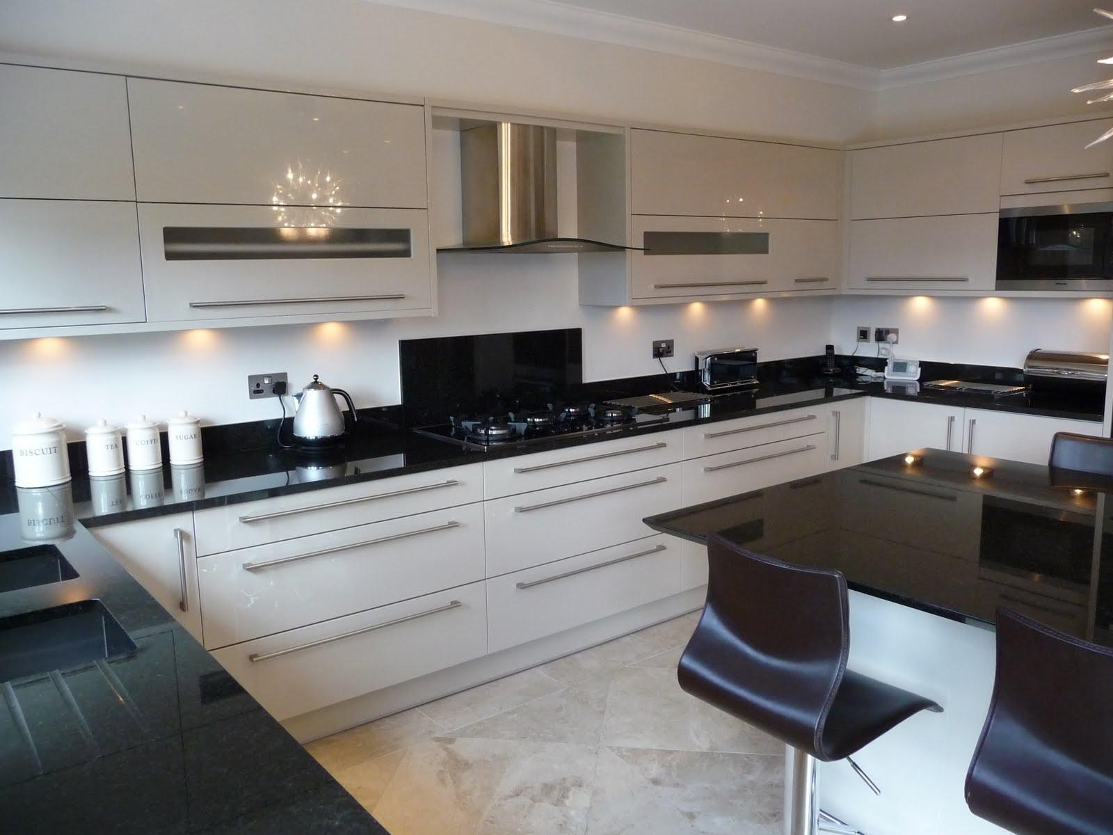 Gloss Beige kitchen with Granite worktops