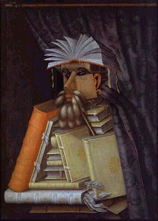 Curious surreal image of librarian, made from books