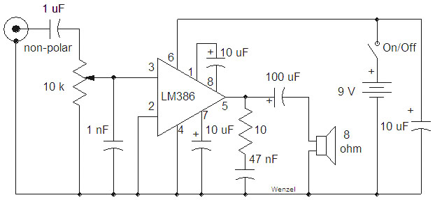 all electronics  lm386 based low power audio amplifier
