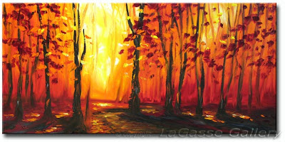 Autumn painting - Fall leaves and Trees