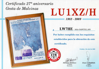 CERTIFICADO RADIO CLUB ISLA MALVINAS LU1XZ