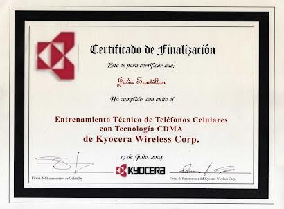 Certificado de Entrenamiento Técnico de Celulares con Tecnología CMDA de  Kyocera Wireless Corp,