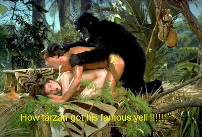 tarzan fucked by gorilla while fucking jane in the forest jungle