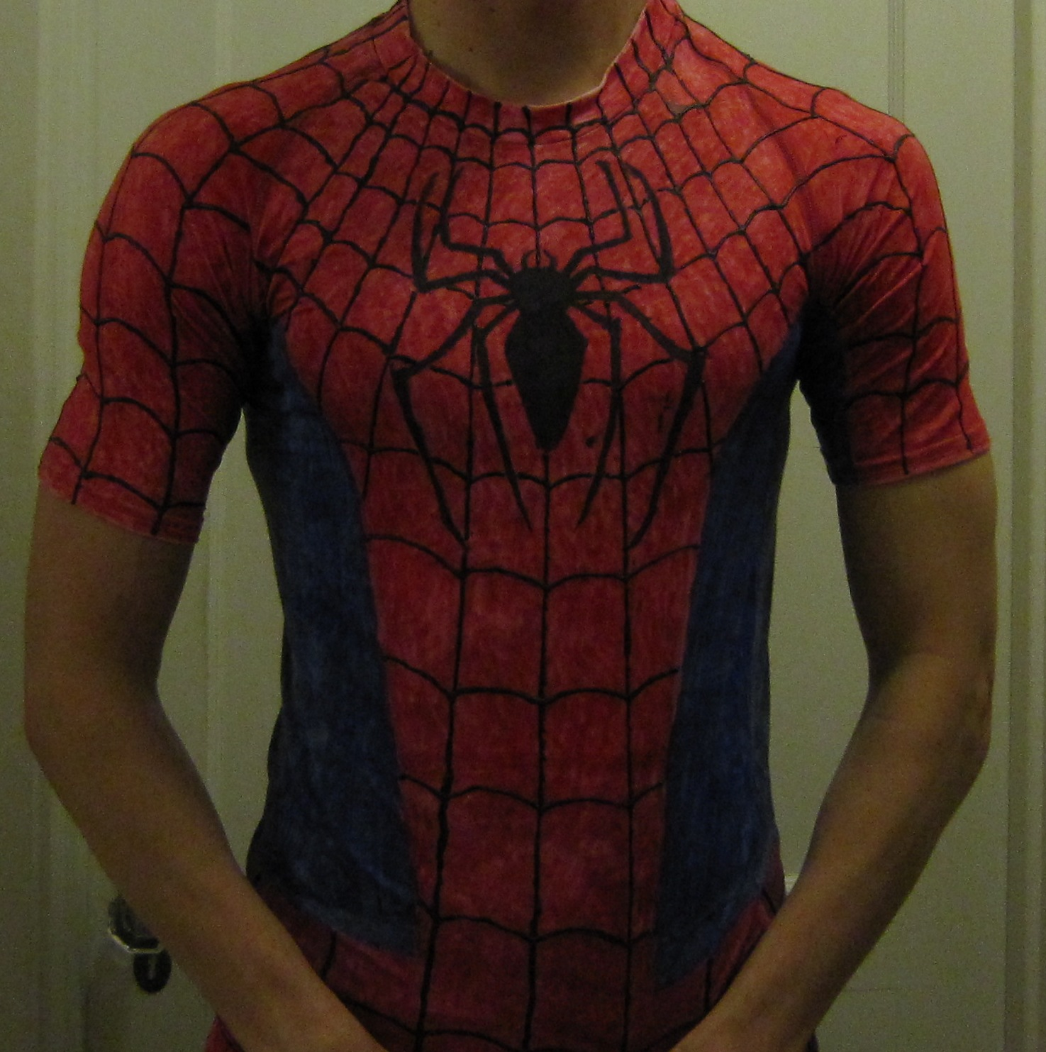 Chuck does art diy do it yourself costume spider man a few halloweens ago i went as spider man the marvel comics superhero rather than try to make a full body spandex suit i opted for the simpler and less solutioingenieria Choice Image