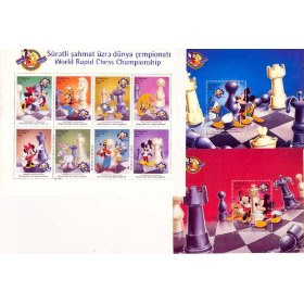 Disney Chess Stamps 8-Stamp Sheet + 2 Souvenir Sheets from Azerbaijan MNH