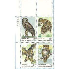 1978 AMERICAN OWLS #1760-63 Plate Block of 4 x 15 cents US Postage Stamps