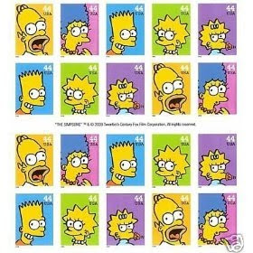 The Simpsons Mint Sheet 20 USA .44 Cent Postage Stamps MNH