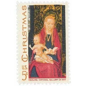 #1336 - 1967 5c Christmas Madonna and Child Postage Stamp Numbered Plate Block (4)