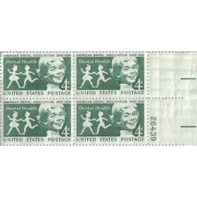 1959 DENTAL HEALTH #1135 Plate Block of 4 x 4 cents US Postage Stamps