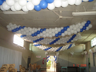 Decoracion con globos guirnaldas para techo - Techos altos decoracion ...