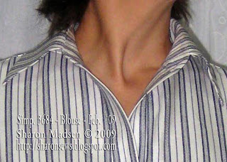 Simplicity 3684 collar closeup sewing by Sharon Madsen copyright 2009