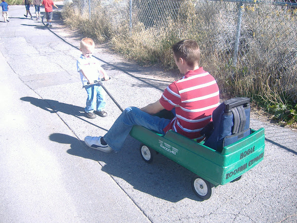 Our strong little man pulling Daddy in the wagon