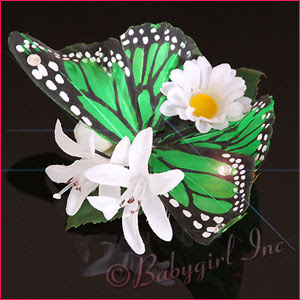 Green Concetta Butterfly Pinup Floral Hair Clip with Daisies!