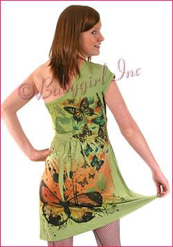 Lime Green Butterfly Print One Shoulder Flirty Short Sleeve Boho Dress for Summer
