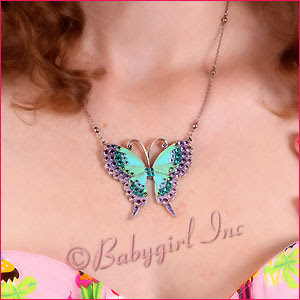 Anne Koplik Jewelry - Beautiful Large Enamel Butterfly Necklace with Swarovski Crystals