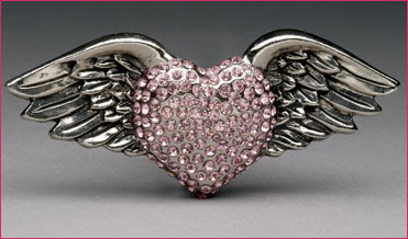 Large Silver Winged Heart Belt Buckle with Baby Pink Rhinestone Heart
