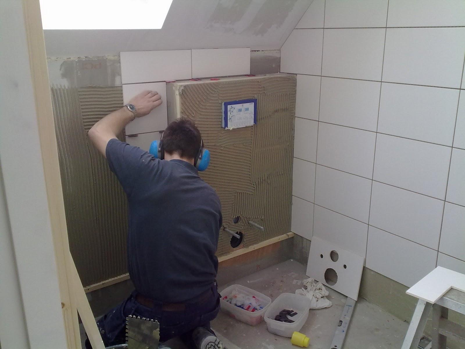Nieuwbouw thea vadan b b kr ddeburen start tegelzetten - Wc muur tegel ...