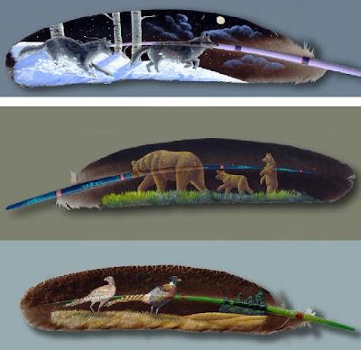 Bird Paintings On Feathers