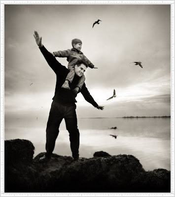 Cute Kid and Daddy On The Fly with Birds