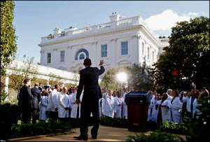 doctors in white lab coats at obamacare signing