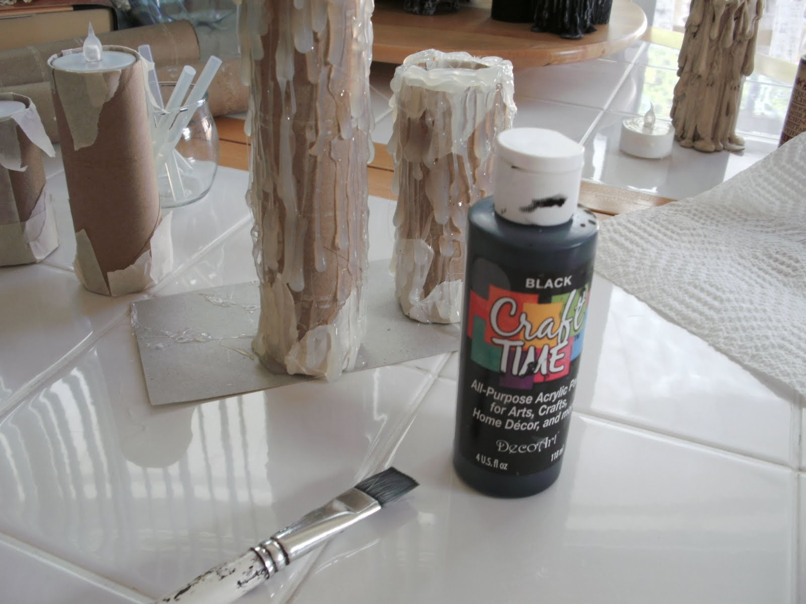 House of dewberry diy halloween paper towel roll and for Can you paint candles with acrylic paint