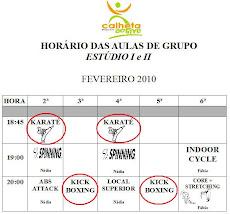 Horário das Aulas de Grupo
