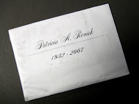 An envelope containing the ashes of the artist