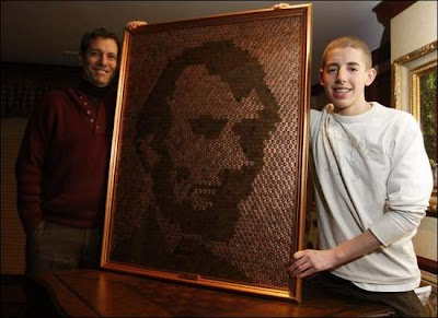 Lincoln Portrait Made Out Of Pennies