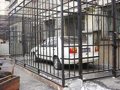 A car in a cage