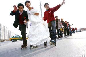 Roller-skating on wedding day