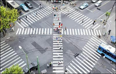 Hangzhou's X zebra crossing