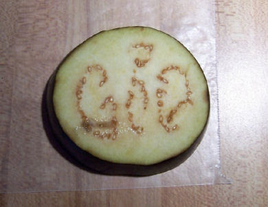 Eggplant with seeds that form the word god