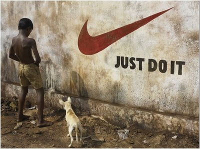 Just do it slogan with a kid peeing next to it