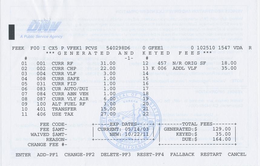 Big blue 39 s online carburetor california year of for Motor vehicle report california dmv