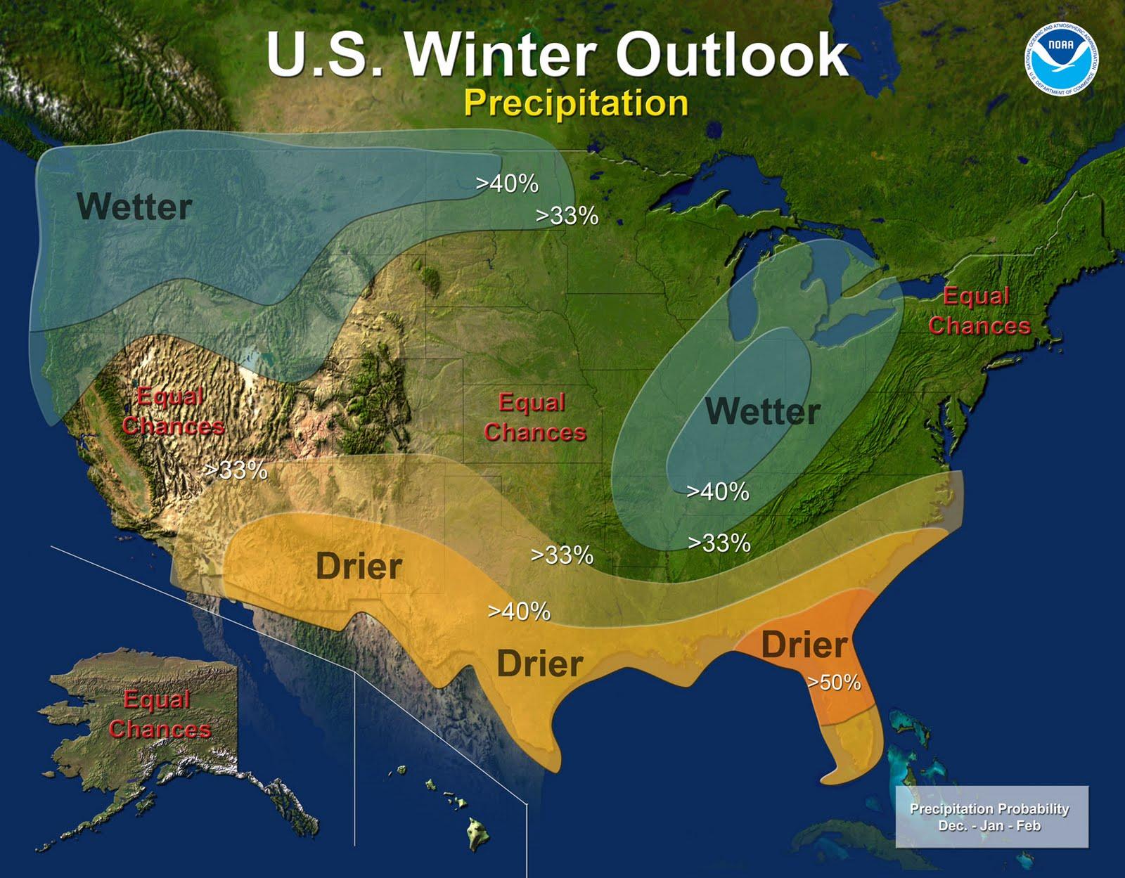 CapitalClimate NOAA  Winter Outlook Strong La Niña - Us weather map for thursday